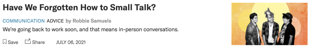 HBR article I wrote on Small Talk